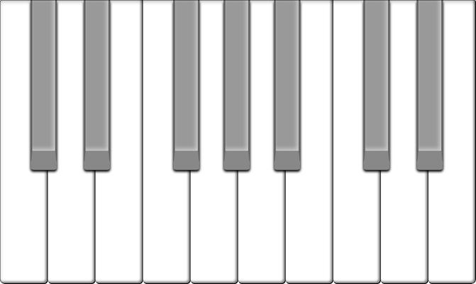 The black keys on the piano keyboard