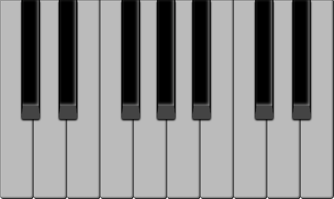 The white keys on the piano keyboard